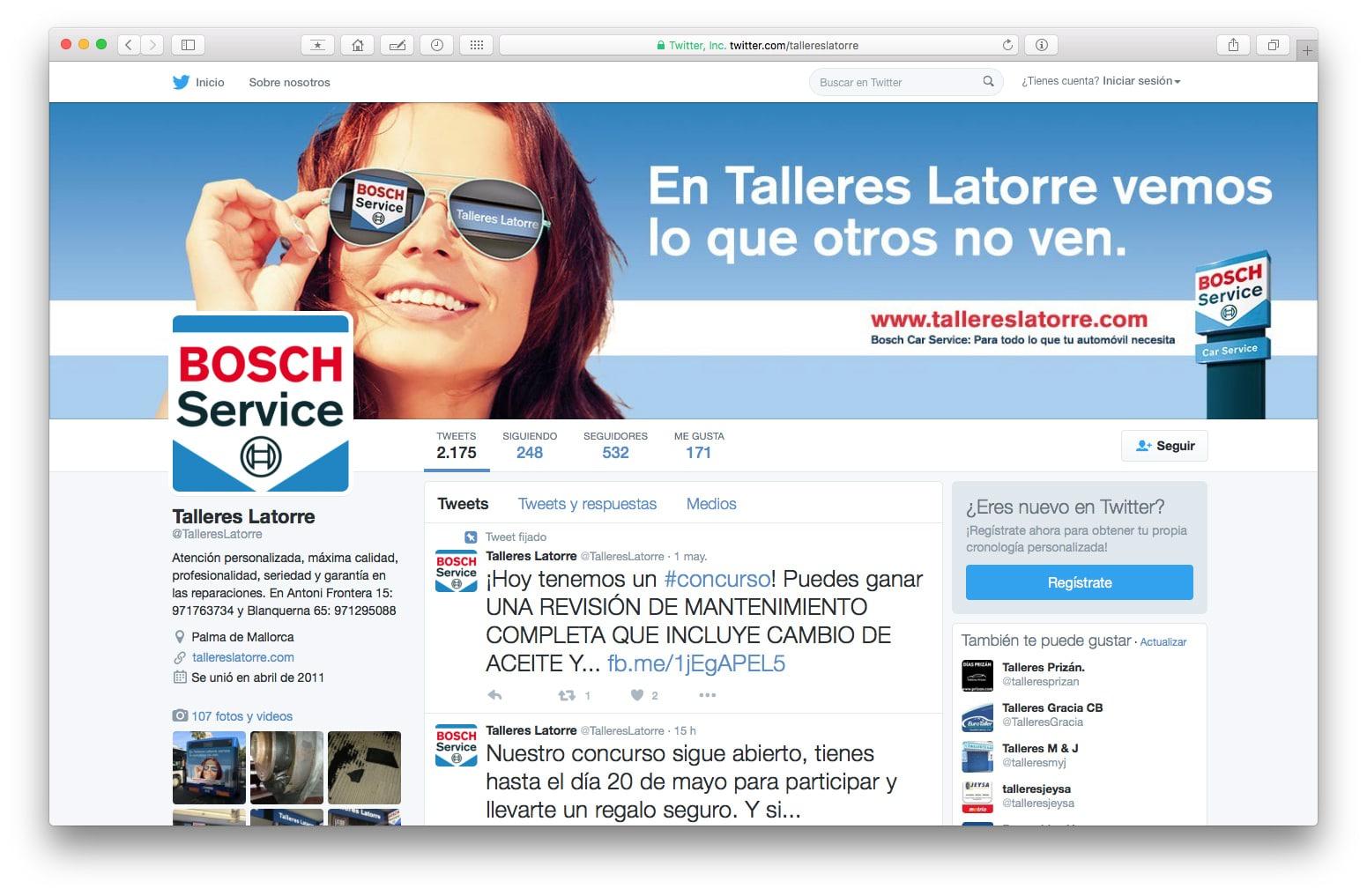 Campañas en perfil en Twitter