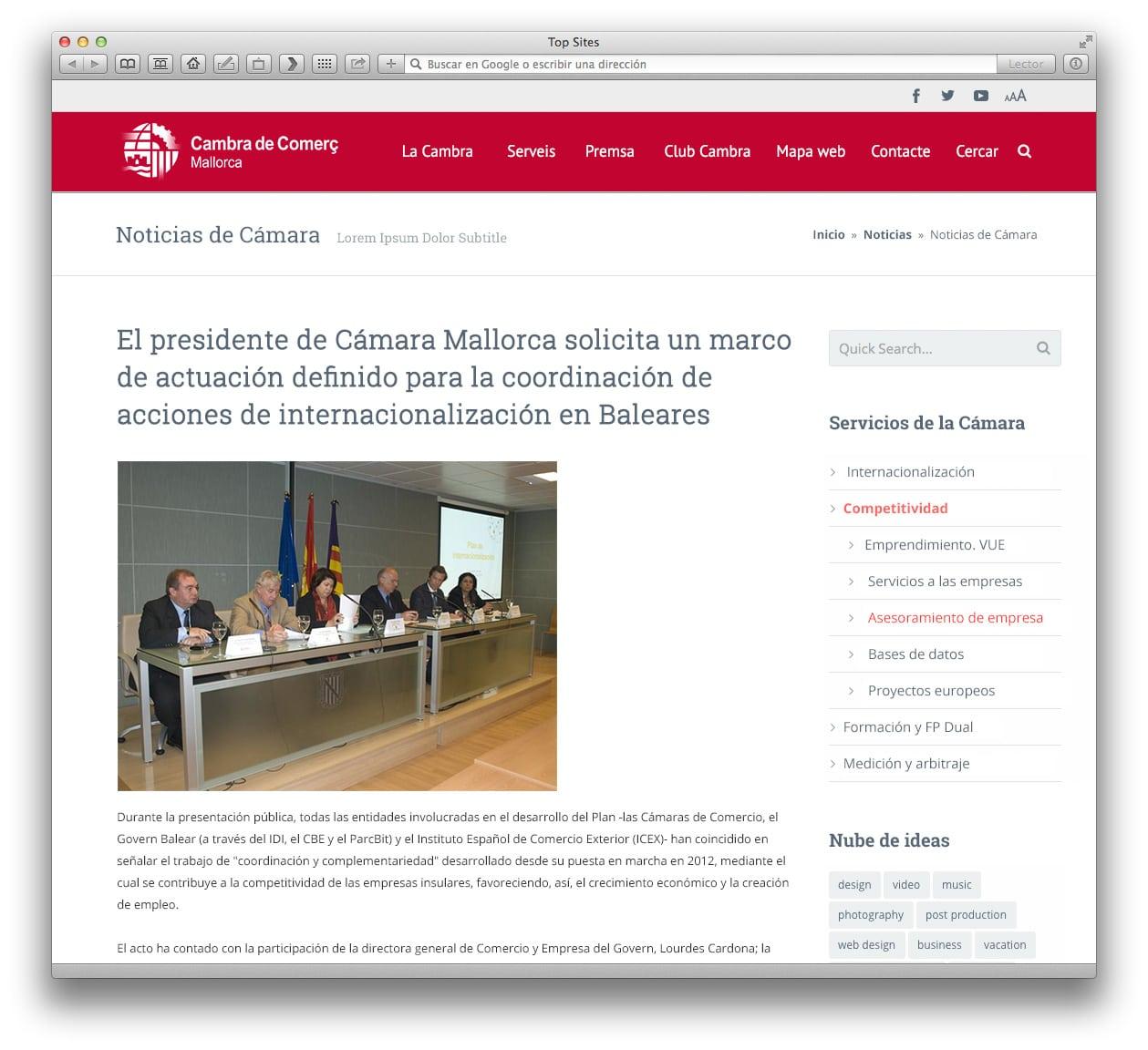 Cámara de Comercio, web (noticia)