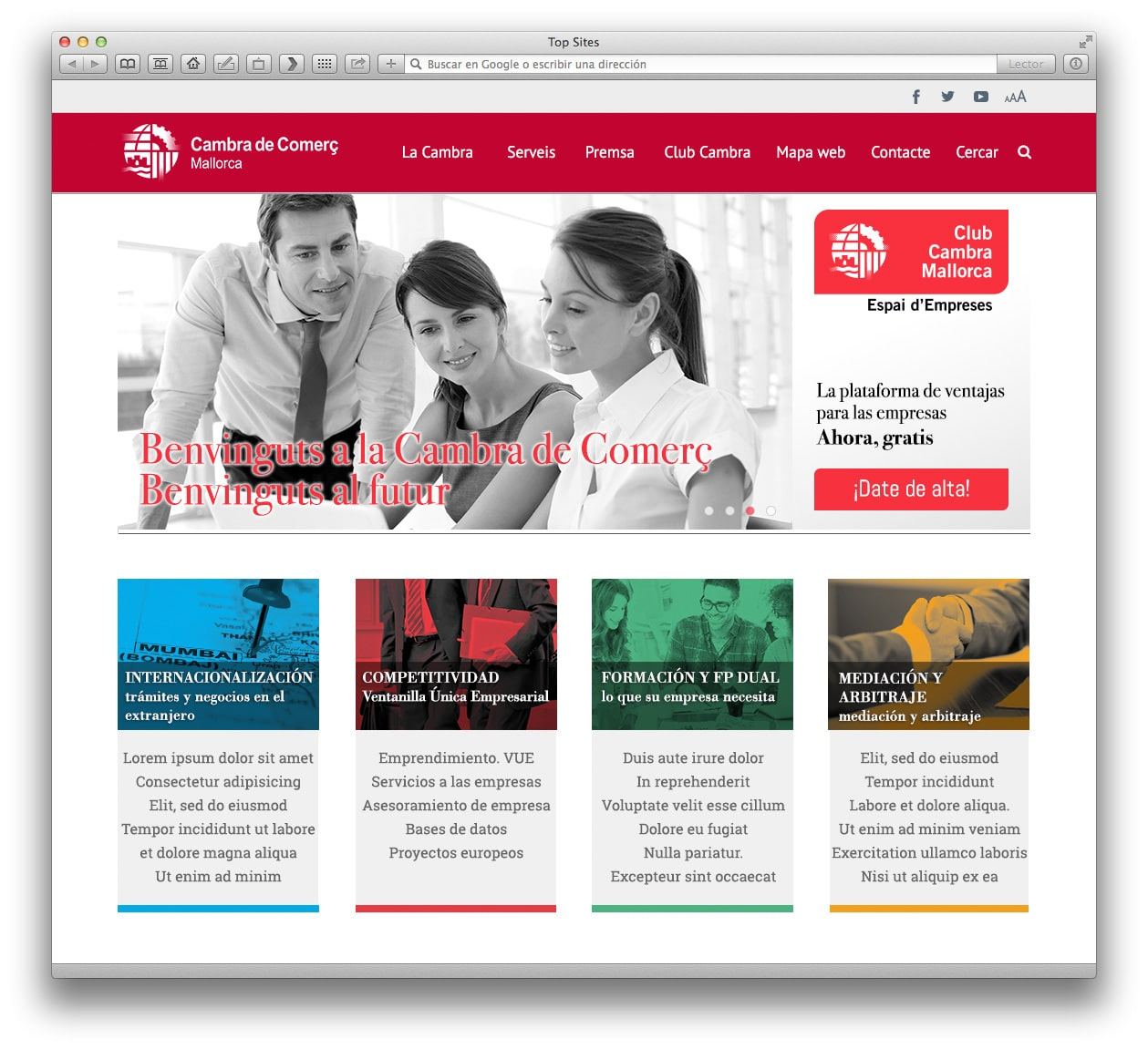 Cámara de Comercio, web